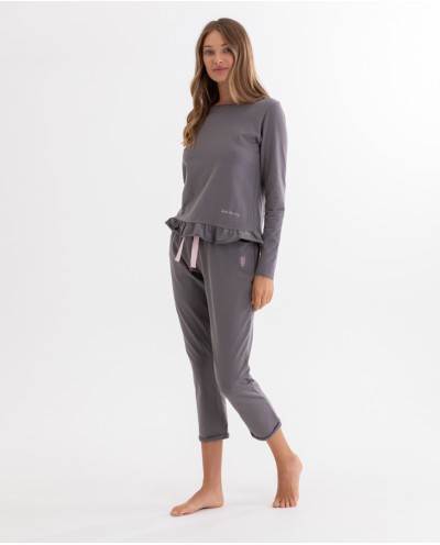 LAZY MORNING long-sleeved frill pyjama set